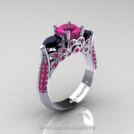 Classic-White-Gold-Three-Stone-Pink-Sapphire-Black-Diamond-Solitaire-Engagement-Ring-R200-WGBDPS-P