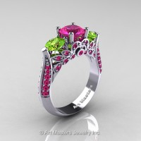 Art Masters Classic 14K White Gold Three Stone Pink Sapphire Peridot Solitaire Ring R200-14KWGPEPS