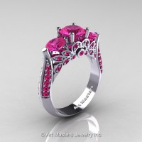 Art Masters Classic 14K White Gold Three Stone Pink Sapphire Solitaire Ring R200-14KWGPS