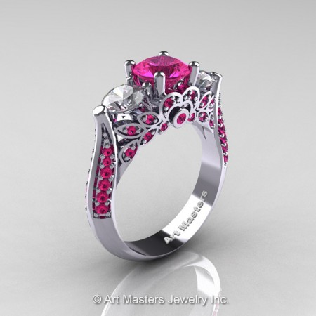 Classic-White-Gold-Three-Stone-Pink-White-Sapphire-Solitaire-Engagement-Ring-R200-WGWSPS-P