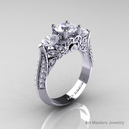 Classic-White-Gold-Three-Stone-White-Sapphire-Diamond-Engagement-Ring-R200-WGWSD-P