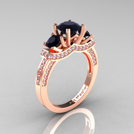 French-14K-Rose-Gold-Three-Stone-Black-and-White-Engagement-Ring-R182-14KRGDBD-P