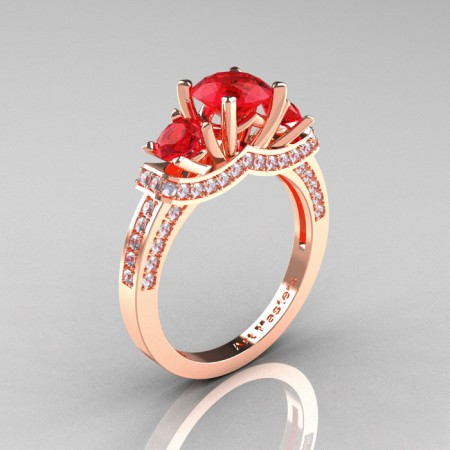 French-14K-Rose-Gold-Three-Stone-Ruby-Diamond-Engagement-Ring-R182-14KRGDR-P