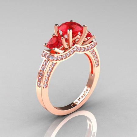 French-14K-Rose-Gold-Three-Stone-Ruby-Diamond-Engagement-Ring-R182-14KRGDR-P