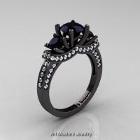 French 14K Black Gold Three Stone Black White Diamond Wedding Ring Engagement Ring R182-14KBGDBD