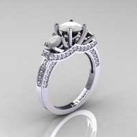 French 14K White Gold Three Stone White Agate Diamond Engagement Ring R182-14KWGDWA