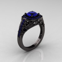 Italian 14K Black Gold 1.0 Ct Blue Sapphire Engagement Ring Wedding Ring R280-14KBGBS