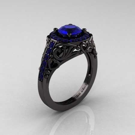 Italian-14K-Black-Gold-1-0-Ct-Blue-Sapphire-Engagement-Ring-Wedding-Ring-R280-14KBGBS-P