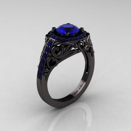 Italian-14K-Black-Gold-1-0-Ct-Blue-Sapphire-Engagement-Ring-Wedding-Ring-R280-14KBGBS-P
