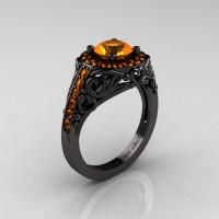 Italian 14K Black Gold 1.0 Ct Orange Sapphire Engagement Ring Wedding Ring R280-14KBGOS