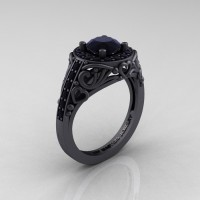 Italian 14K Matte Black Gold 1.0 Ct Black Diamond Engagement Ring Wedding Ring R280-14KMBGBD