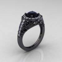 Italian 14K Matte Black Gold 1.0 Ct Black and White Diamond Engagement Ring Wedding Ring R280-14KMBGDBD