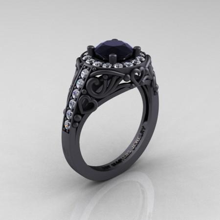 Italian-14K-Matte-Black-Gold-1-0-Ct-Black-and-White-Diamond-Engagement-Ring-Wedding-Ring-R280-14KMBGDBD-P