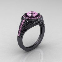 Italian 14K Matte Black Gold 1.0 Ct Light Pink Sapphire Engagement Ring Wedding Ring R280-14KMBGLPS