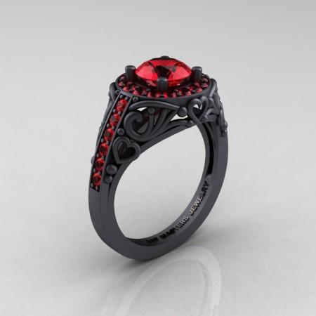 Italian-14K-Matte-Black-Gold-1-0-Ct-Rubies-Engagement-Ring-Wedding-Ring-R280-14KMBGR-P