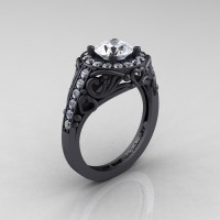 Italian 14K Matte Black Gold 1.0 Ct White Sapphire Diamond Engagement Ring Wedding Ring R280-14KMBGDWS