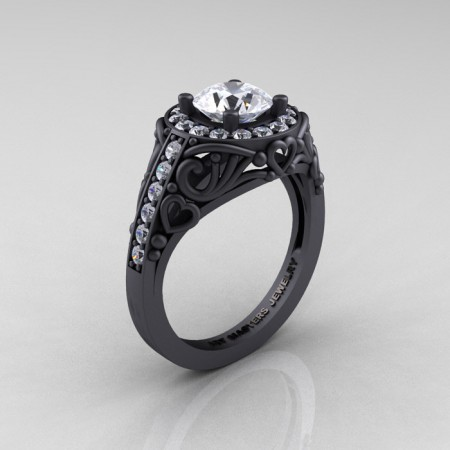 Italian-14K-Matte-Black-Gold-1-0-Ct-White-Sapphire-Engagement-Ring-Wedding-Ring-R280-14KMBGWS-P