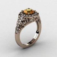 Italian 14K Rose Gold 1.0 Ct Citrine Diamond Engagement Ring Wedding Ring R280-14KRGDCI