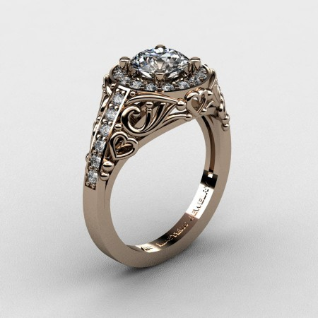Italian-14K-Rose-Gold-1-0-Ct-White-Sapphire-Diamond-Engagement-Ring-Wedding-Ring-R280-14KRGDWS-P2