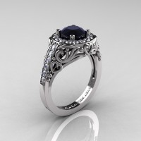 Italian 14K White Gold 1.0 Ct Black and White Diamond Engagement Ring Wedding Ring R280-14KWGDBD