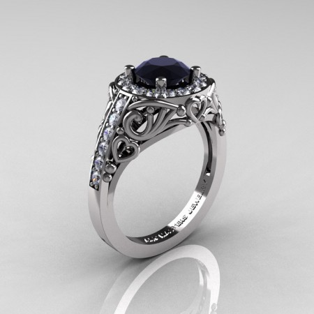 Italian-14K-White-Gold-1-0-Ct-Black-and-White-Diamond-Engagement-Ring-Wedding-Ring-R280-14KWGDBD-P