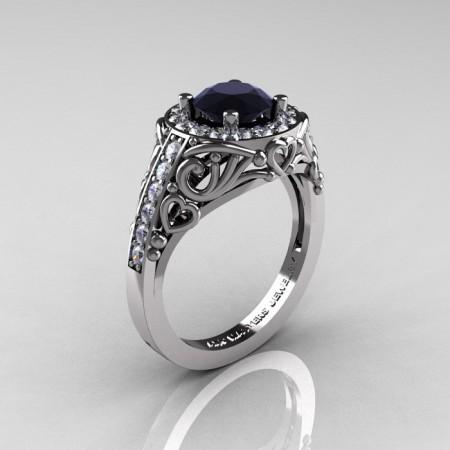 Italian-14K-White-Gold-1-0-Ct-Black-and-White-Diamond-Engagement-Ring-Wedding-Ring-R280-14KWGDBD-P