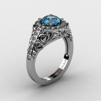 Italian 14K White Gold 1.0 Ct Aquamarine Diamond Engagement Ring Wedding Ring R280-14KWGDAQUA