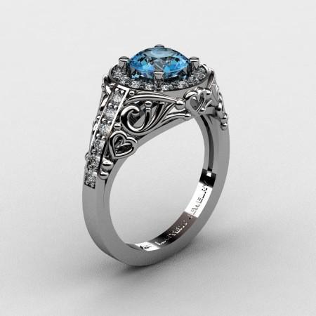 Italian-14K-White-Gold-1-0-Ct-Blue-Topaz-Diamond-Engagement-Ring-Wedding-Ring-R280-14KWGDBT-P