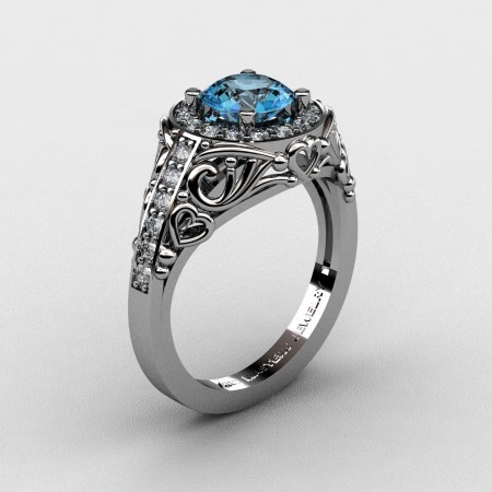 Italian-14K-White-Gold-1-0-Ct-Blue-Topaz-Diamond-Engagement-Ring-Wedding-Ring-R280-14KWGDBT-P2