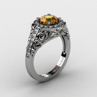 Italian 14K White Gold 1.0 Ct Citrine Diamond Engagement Ring Wedding Ring R280-14KWGDCI