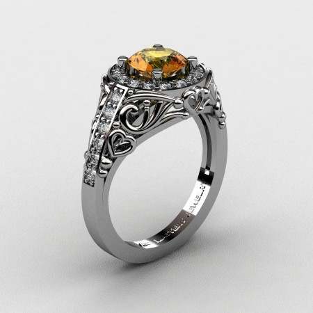 Italian-14K-White-Gold-1-0-Ct-Citrine-Diamond-Engagement-Ring-Wedding-Ring-R280-14KWGDCI-P