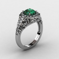 Italian 14K White Gold 1.0 Ct Emerald Diamond Engagement Ring Wedding Ring R280-14KWGDEM