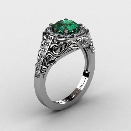 Italian-14K-White-Gold-1-0-Ct-Emerald-Diamond-Engagement-Ring-Wedding-Ring-R280-14KWGDEM-P