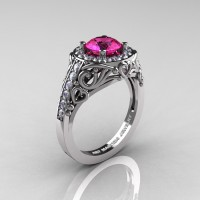 Italian 950 Platinum 1.0 Ct Pink Sapphire Diamond Engagement Ring Wedding Ring R280-PLATDPS