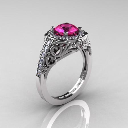 Italian-14K-White-Gold-1-0-Ct-Pink-Sapphire-Diamond-Engagement-Ring-Wedding-Ring-R280-14KWGDPS-P