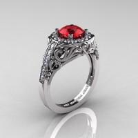 Italian 14K White Gold 1.0 Ct Ruby Diamond Engagement Ring Wedding Ring R280-14KWGDR