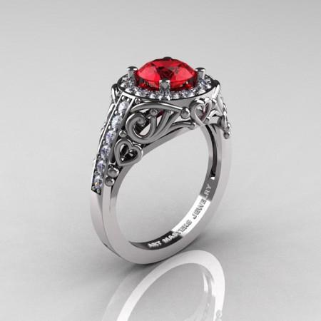 Italian-14K-White-Gold-1-0-Ct-Ruby-Diamond-Engagement-Ring-Wedding-Ring-R280-14KWGDR-P