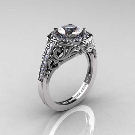 Italian-14K-White-Gold-1-0-Ct-White-Sapphire-Diamond-Engagement-Ring-Wedding-Ring-R280-14KWGDWS-P