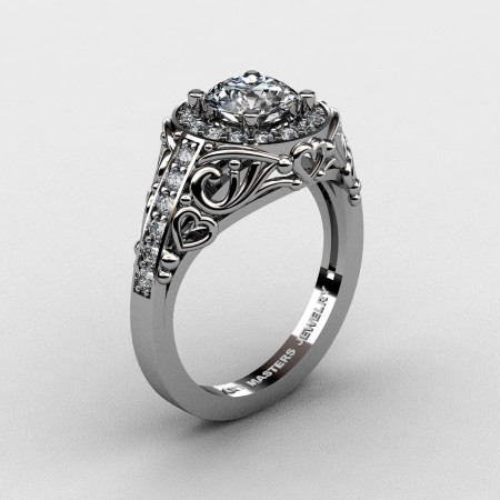 Italian-14K-White-Gold-1-0-Ct-White-Sapphire-Diamond-Engagement-Ring-Wedding-Ring-R280-14KWGDWS-P2