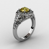Italian 14K White Gold 1.0 Ct Yellow Sapphire Diamond Engagement Ring Wedding Ring R280-14KWGDYS