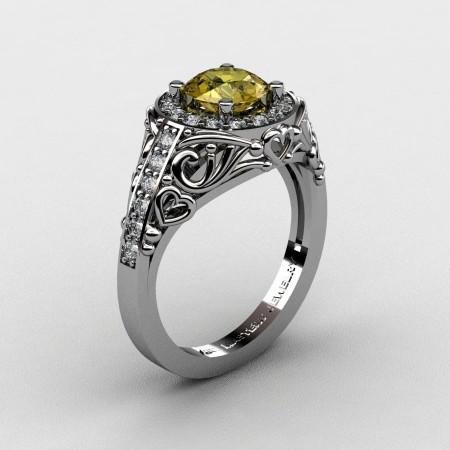 Italian-14K-White-Gold-1-0-Ct-Yellow-Sapphire-Diamond-Engagement-Ring-Wedding-Ring-R280-14KWGDYS-P