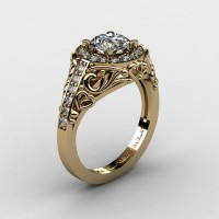 Italian 14K Yellow Gold 1.0 Ct White Sapphire Diamond Engagement Ring Wedding Ring R280-14KYGDWS