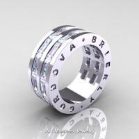 Mens Modern 14K White Gold Baguette White Sapphire Channel Cluster Infinity Wedding Ring R774-14KWGWS