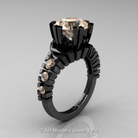 Modern 14K Black Gold 3.0 Ct Champagne Diamond Solitaire Wedding Anniversary Ring R325-14KBGCHD