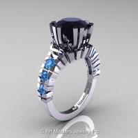 Modern 14K White Gold 3.0 Ct Black Diamond Blue Topaz Solitaire Wedding Anniversary Ring R325-14KWGBTBD