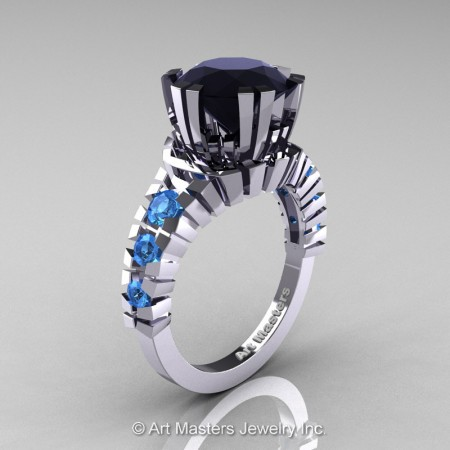 Modern-14K-White-Gold-3-Carat-Black-Diamond-Blue-Topaz-Solitaire-Wedding-Ring-R325-14KWGBTBD-P