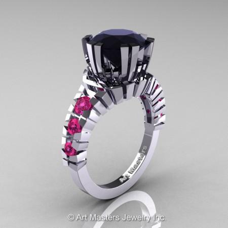 Modern-14K-White-Gold-3-Carat-Black-Diamond-Pink-Sapphire-Solitaire-Wedding-Ring-R325-14KWGPSBD-P