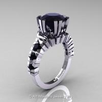 Modern 14K White Gold 3.0 Ct Black Diamond Solitaire Wedding Anniversary Ring R325-14KWGBD