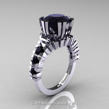 Modern-14K-White-Gold-3-Carat-Black-Diamond-Solitaire-Wedding-Ring-R325-14KWGBD-P
