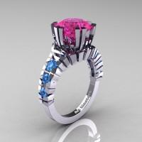 Modern 14K White Gold 3.0 Ct Pink Sapphire Blue Topaz Solitaire Wedding Anniversary Ring R325-14KWGBTPS